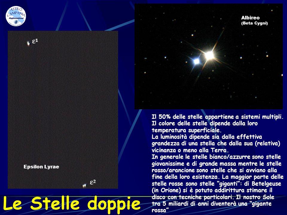 Le Stelle doppie Il 50% delle stelle appartiene a sistemi multipli. Il colore delle stelle dipende dalla loro temperatura superficiale. La luminosità