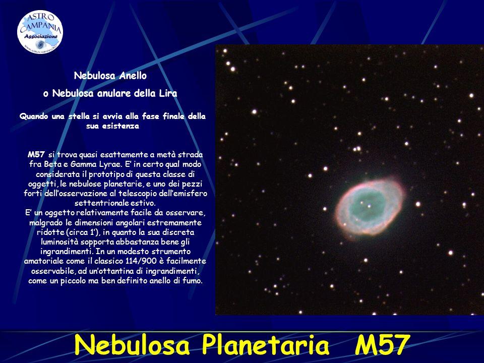 Nebulosa Anello o Nebulosa anulare della Lira M57 si trova quasi esattamente a metà strada fra Beta e Gamma Lyrae. E in certo qual modo considerata il