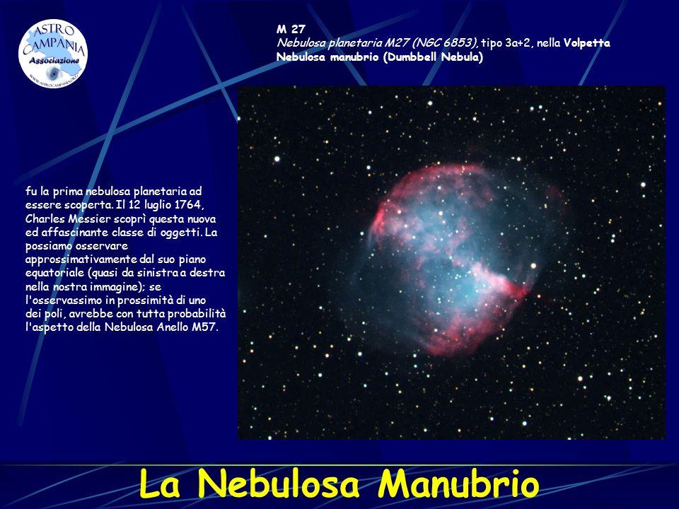 M 27 Nebulosa planetaria M27 (NGC 6853), tipo 3a+2, nella Volpetta Nebulosa manubrio (Dumbbell Nebula) fu la prima nebulosa planetaria ad essere scope