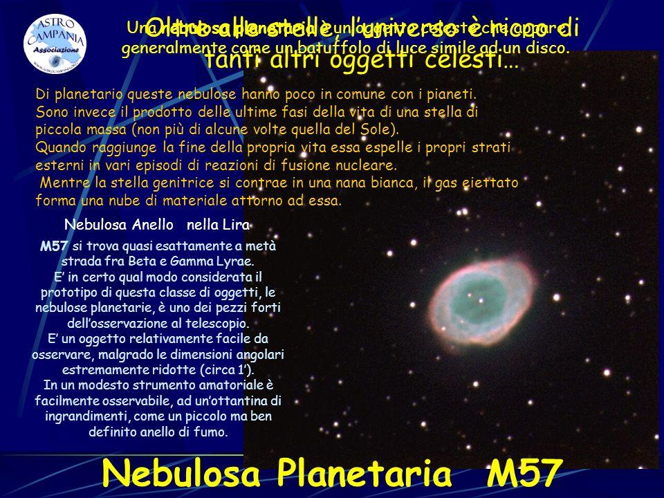 Nebulosa Anello nella Lira M57 si trova quasi esattamente a metà strada fra Beta e Gamma Lyrae. E in certo qual modo considerata il prototipo di quest