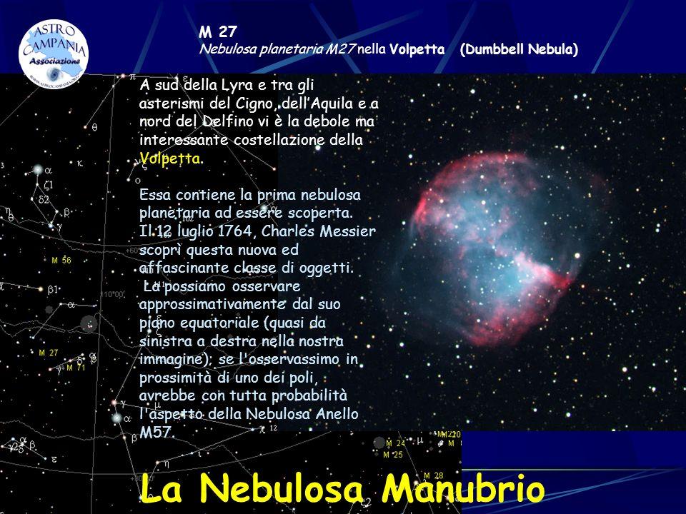 M 27 Nebulosa planetaria M27 nella Volpetta (Dumbbell Nebula) A sud della Lyra e tra gli asterismi del Cigno, dellAquila e a nord del Delfino vi è la