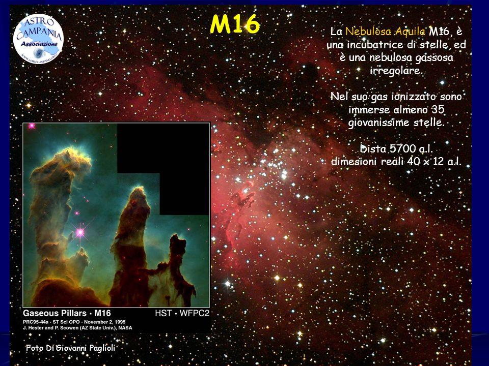 M16 La Nebulosa Aquila M16, è una incubatrice di stelle, ed è una nebulosa gassosa irregolare. Nel suo gas ionizzato sono immerse almeno 35 giovanissi