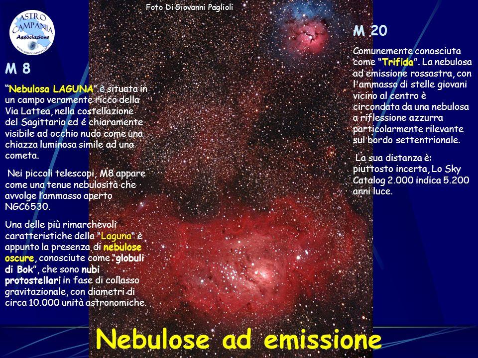Nebulose ad emissione M 8 Nebulosa LAGUNA è situata in un campo veramente ricco della Via Lattea, nella costellazione del Sagittario ed é chiaramente