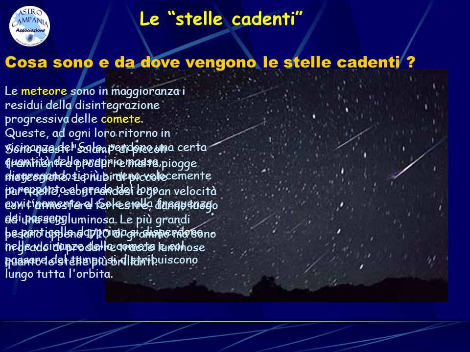 Le stelle cadenti Le meteore sono in maggioranza i residui della disintegrazione progressiva delle comete. Queste, ad ogni loro ritorno in vicinanza d