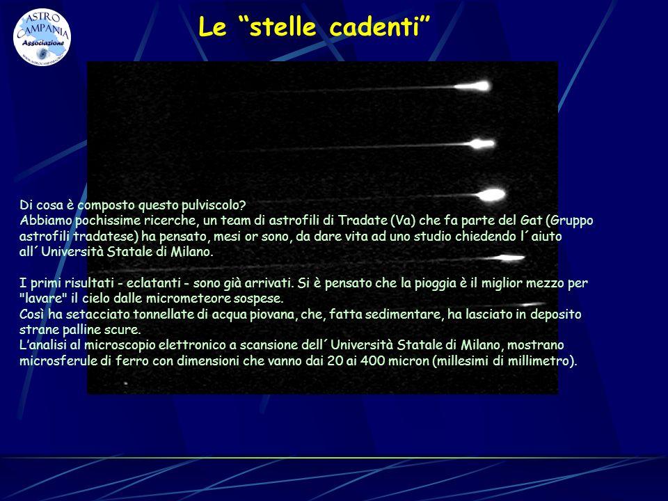 Le stelle cadenti Di cosa è composto questo pulviscolo? Abbiamo pochissime ricerche, un team di astrofili di Tradate (Va) che fa parte del Gat (Gruppo