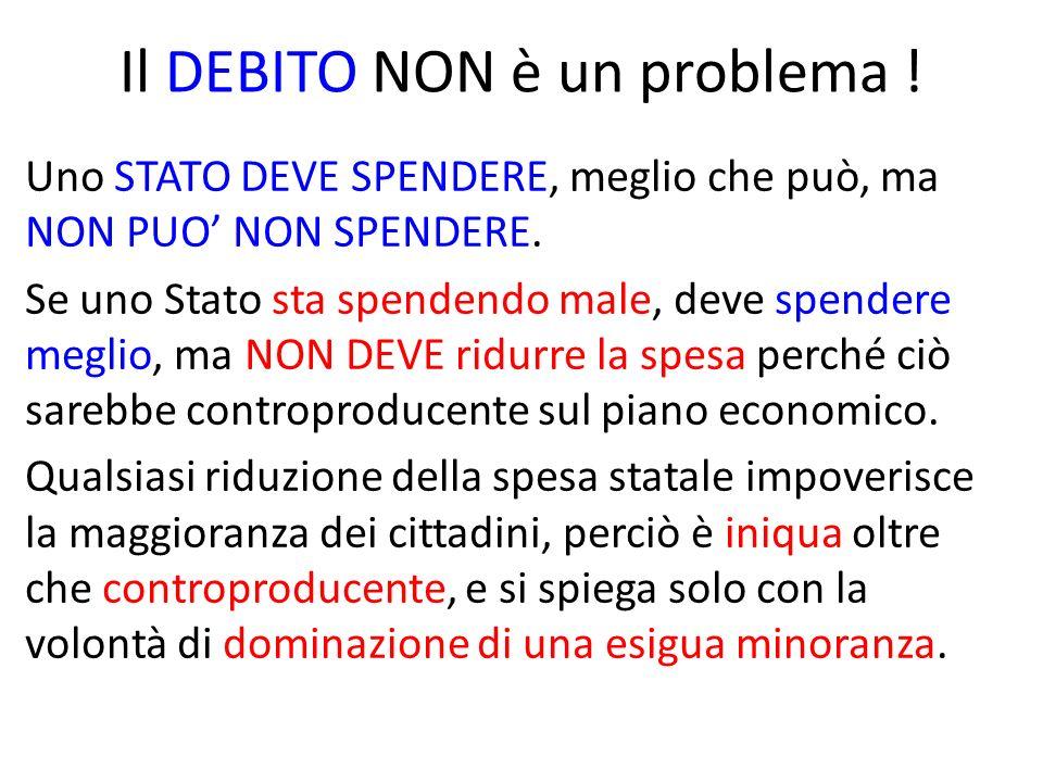 Il DEBITO NON è un problema . Uno STATO DEVE SPENDERE, meglio che può, ma NON PUO NON SPENDERE.