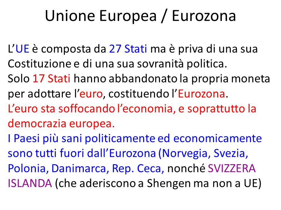 Unione Europea / Eurozona LUE è composta da 27 Stati ma è priva di una sua Costituzione e di una sua sovranità politica.