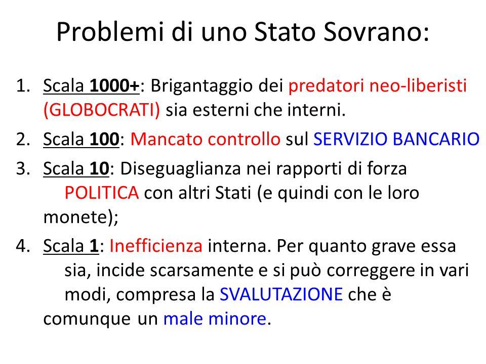 Problemi di uno Stato Sovrano: 1.Scala 1000+: Brigantaggio dei predatori neo-liberisti (GLOBOCRATI) sia esterni che interni.