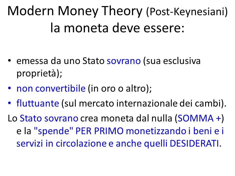 Modern Money Theory (Post-Keynesiani) la moneta deve essere: emessa da uno Stato sovrano (sua esclusiva proprietà); non convertibile (in oro o altro); fluttuante (sul mercato internazionale dei cambi).