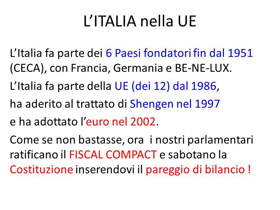 LITALIA nella UE LItalia fa parte dei 6 Paesi fondatori fin dal 1951 (CECA), con Francia, Germania e BE-NE-LUX.
