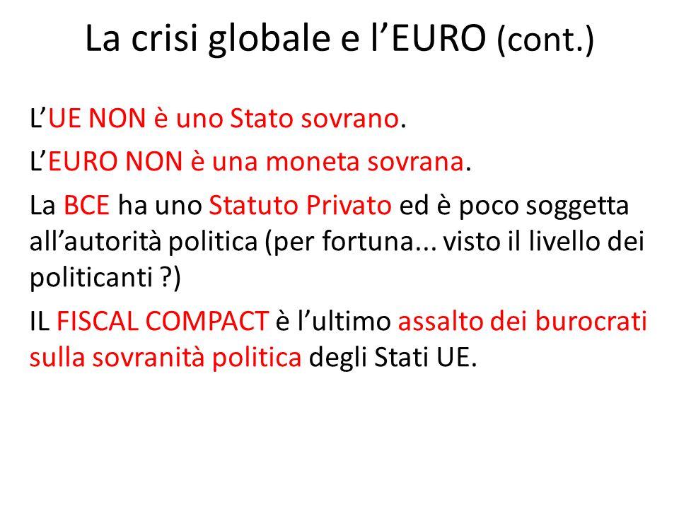 La crisi globale e lEURO (cont.) LUE NON è uno Stato sovrano.