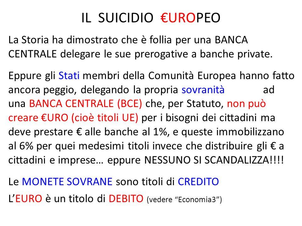 IL SUICIDIO UROPEO La Storia ha dimostrato che è follia per una BANCA CENTRALE delegare le sue prerogative a banche private. Eppure gli Stati membri d