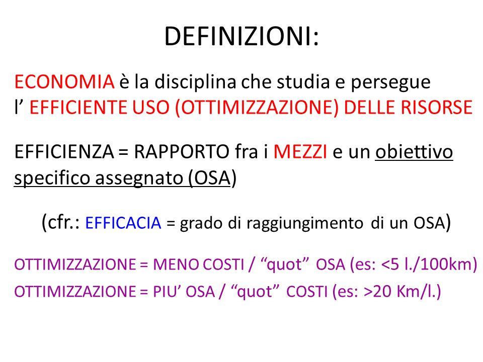 DEFINIZIONI: ECONOMIA è la disciplina che studia e persegue l EFFICIENTE USO (OTTIMIZZAZIONE) DELLE RISORSE EFFICIENZA = RAPPORTO fra i MEZZI e un obi