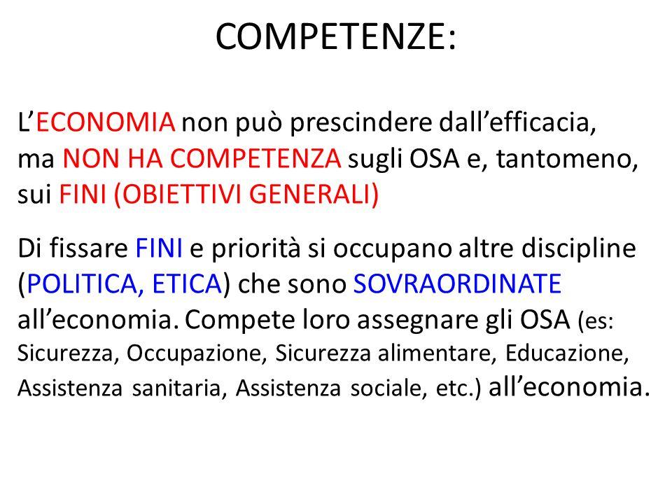COMPETENZE: LECONOMIA non può prescindere dallefficacia, ma NON HA COMPETENZA sugli OSA e, tantomeno, sui FINI (OBIETTIVI GENERALI) Di fissare FINI e