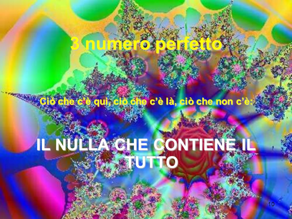 10 3 numero perfetto Ciò che cè qui, ciò che cè là, ciò che non cè: IL NULLA CHE CONTIENE IL TUTTO