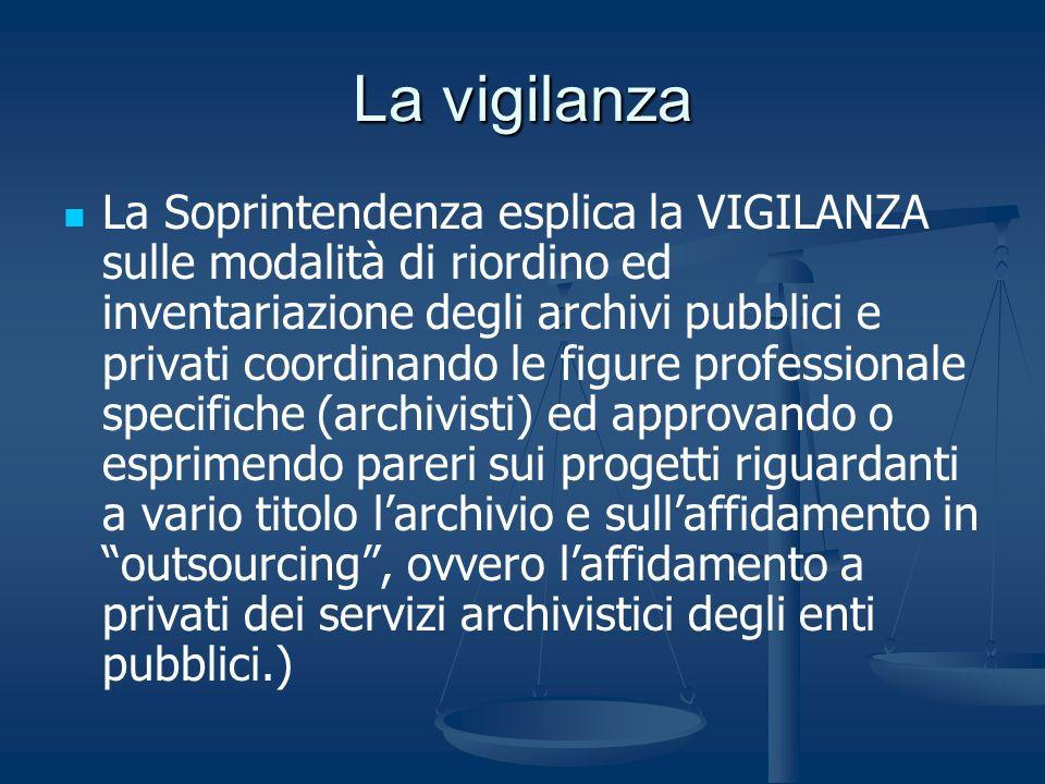 La vigilanza La Soprintendenza esplica la VIGILANZA sulle modalità di riordino ed inventariazione degli archivi pubblici e privati coordinando le figu