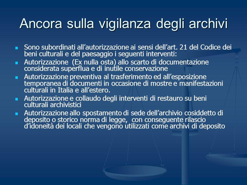Ancora sulla vigilanza degli archivi Sono subordinati allautorizzazione ai sensi dellart. 21 del Codice dei beni culturali e del paesaggio i seguenti