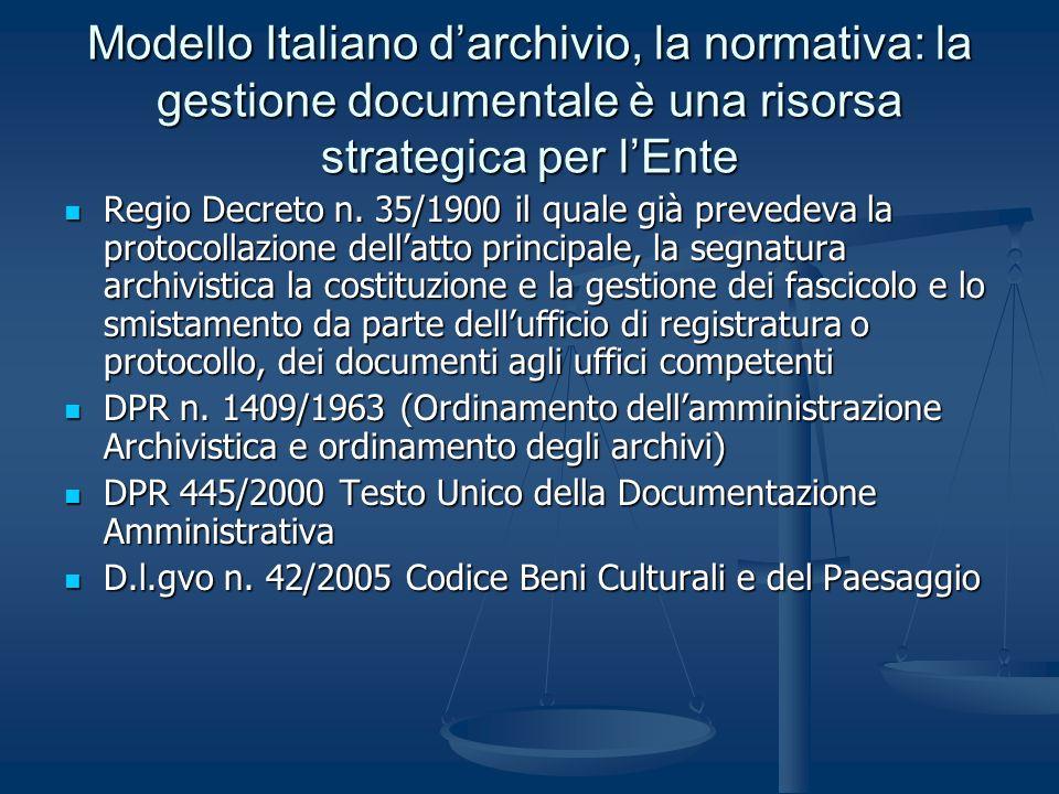 Modello Italiano darchivio, la normativa: la gestione documentale è una risorsa strategica per lEnte Regio Decreto n. 35/1900 il quale già prevedeva l