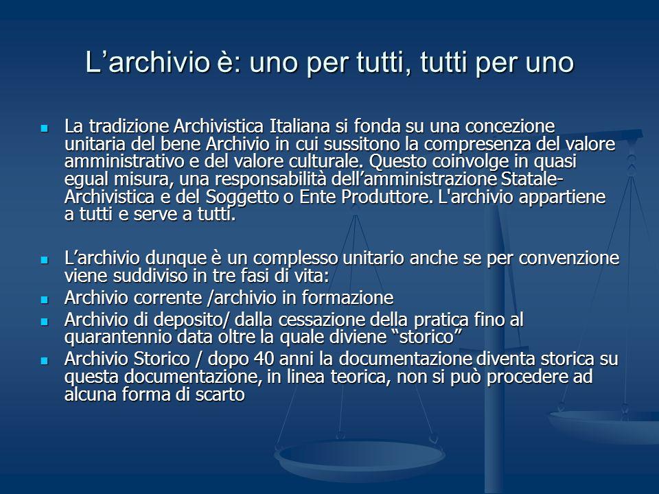 Larchivio è: uno per tutti, tutti per uno La tradizione Archivistica Italiana si fonda su una concezione unitaria del bene Archivio in cui sussitono l
