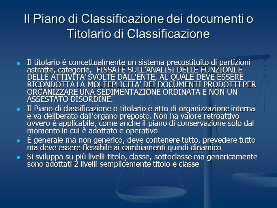 Il Piano di Classificazione dei documenti o Titolario di Classificazione Il titolario è concettualmente un sistema precostituito di partizioni astratt