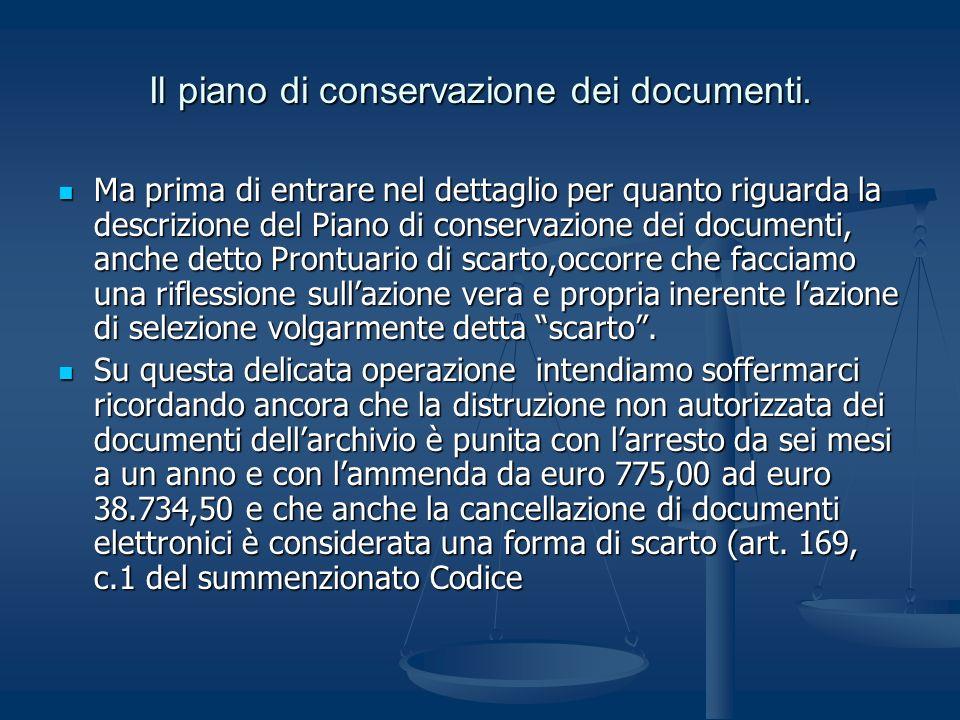 Il piano di conservazione dei documenti. Ma prima di entrare nel dettaglio per quanto riguarda la descrizione del Piano di conservazione dei documenti