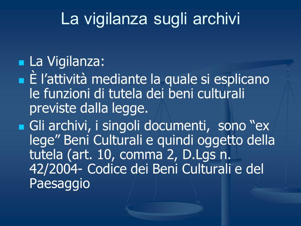 La vigilanza sugli archivi La Vigilanza: È lattività mediante la quale si esplicano le funzioni di tutela dei beni culturali previste dalla legge. Gli