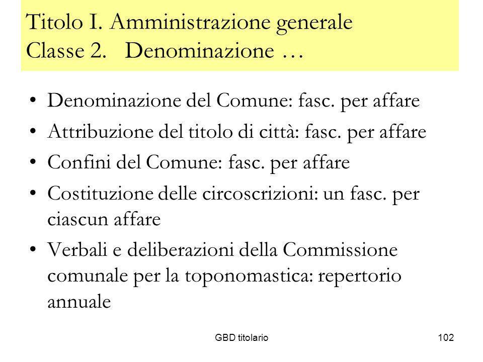 GBD titolario102 Titolo I. Amministrazione generale Classe 2. Denominazione … Denominazione del Comune: fasc. per affare Attribuzione del titolo di ci