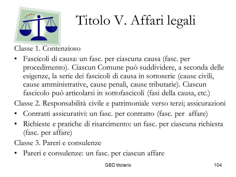 GBD titolario104 Titolo V. Affari legali Classe 1. Contenzioso Fascicoli di causa: un fasc. per ciascuna causa (fasc. per procedimento). Ciascun Comun