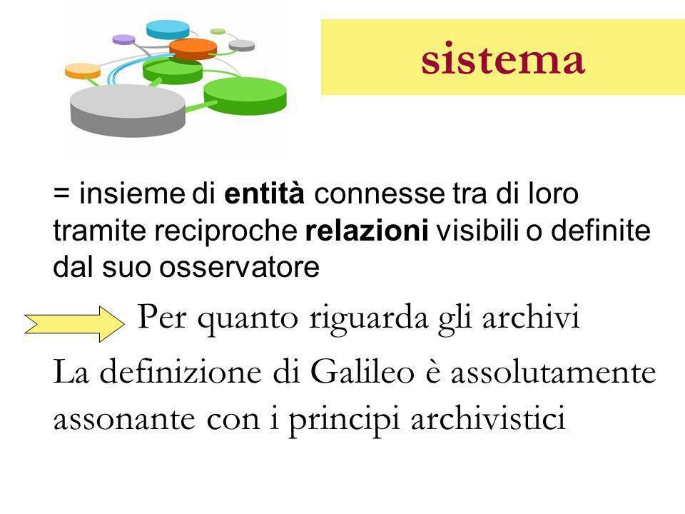 sistema = insieme di entità connesse tra di loro tramite reciproche relazioni visibili o definite dal suo osservatore Per quanto riguarda gli archivi