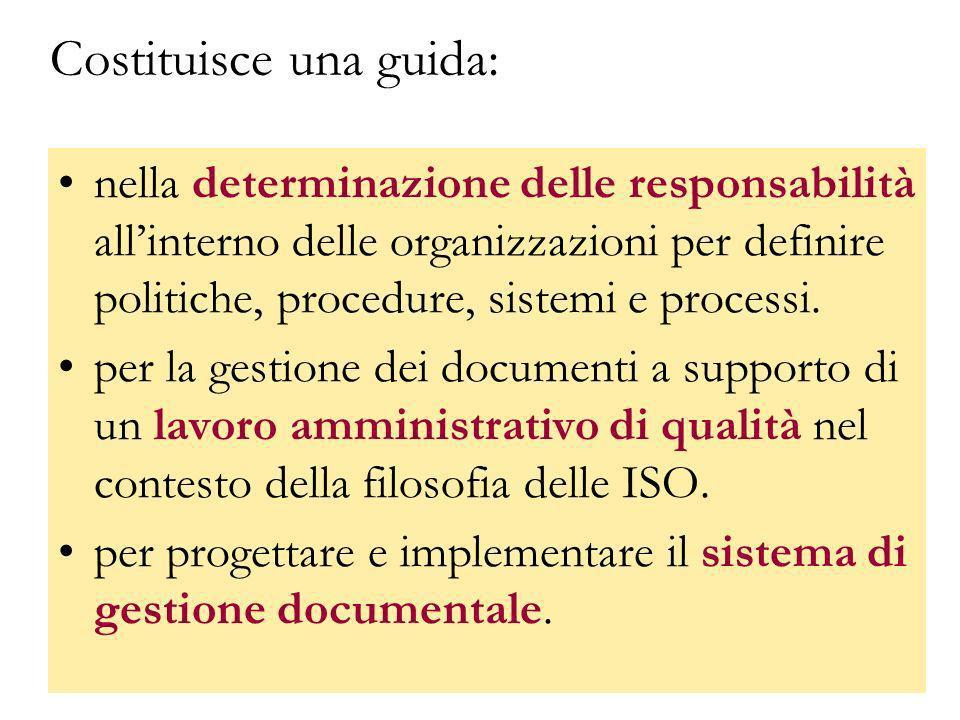 GBD titolario20 Costituisce una guida: nella determinazione delle responsabilità allinterno delle organizzazioni per definire politiche, procedure, si