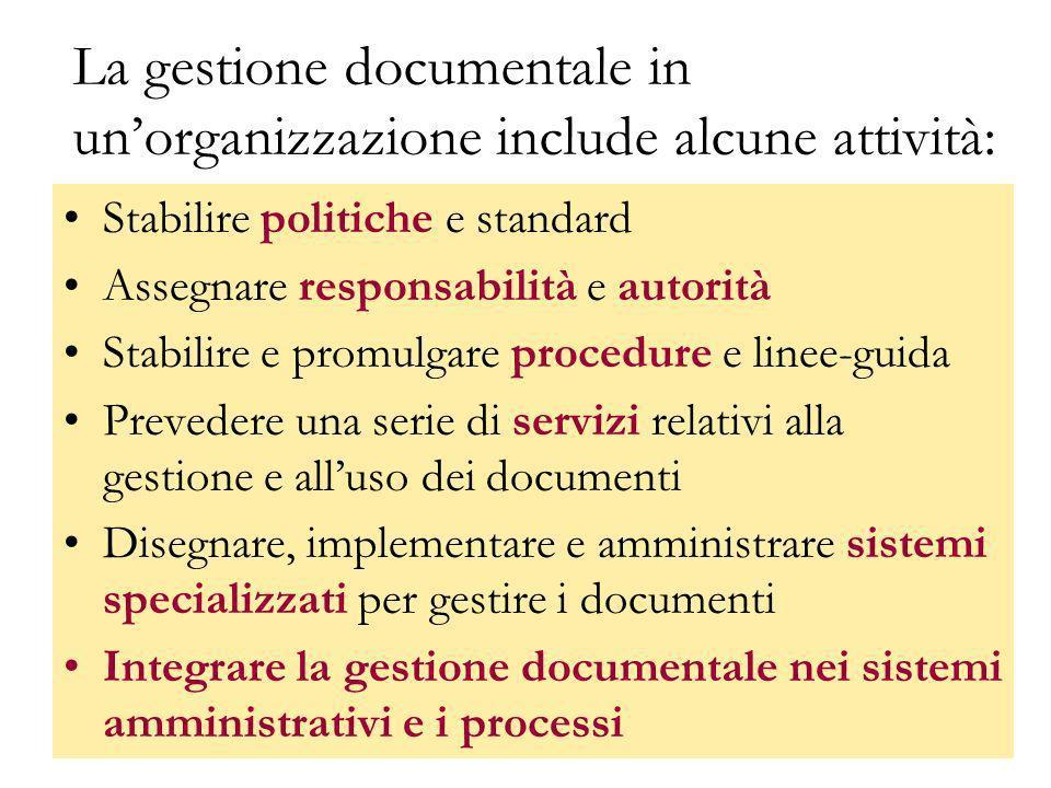 GBD titolario22 La gestione documentale in unorganizzazione include alcune attività: Stabilire politiche e standard Assegnare responsabilità e autorit