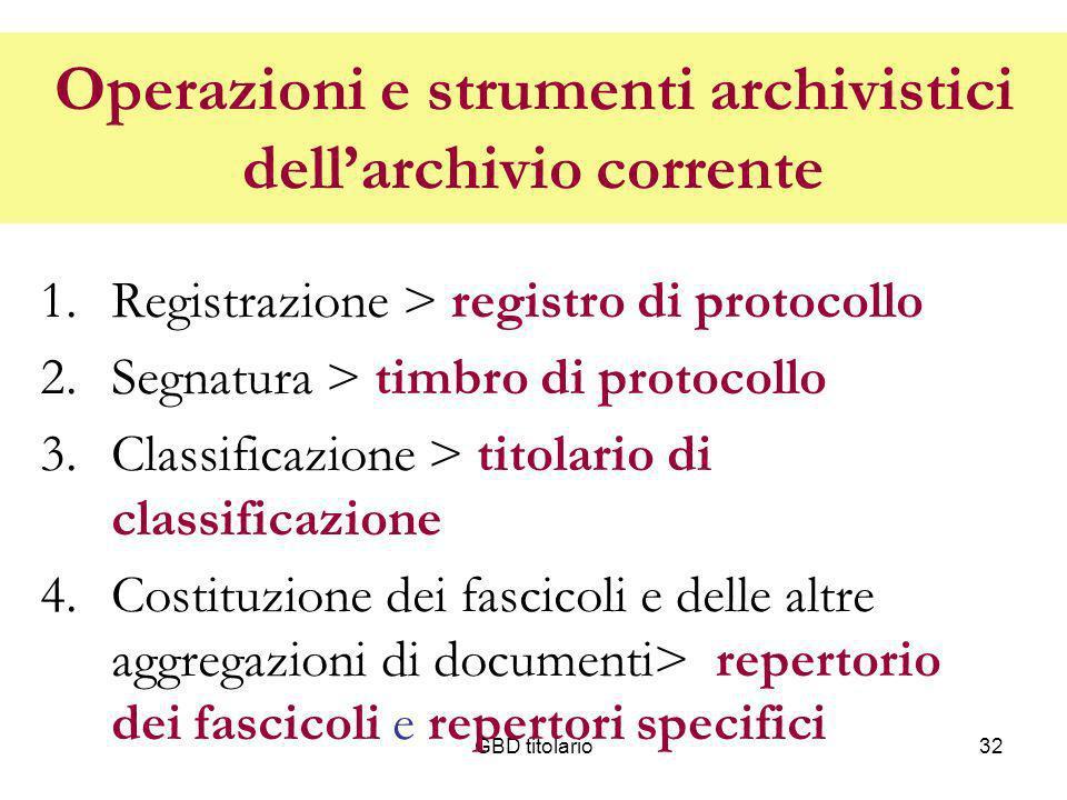 GBD titolario32 Operazioni e strumenti archivistici dellarchivio corrente 1.Registrazione > registro di protocollo 2.Segnatura > timbro di protocollo