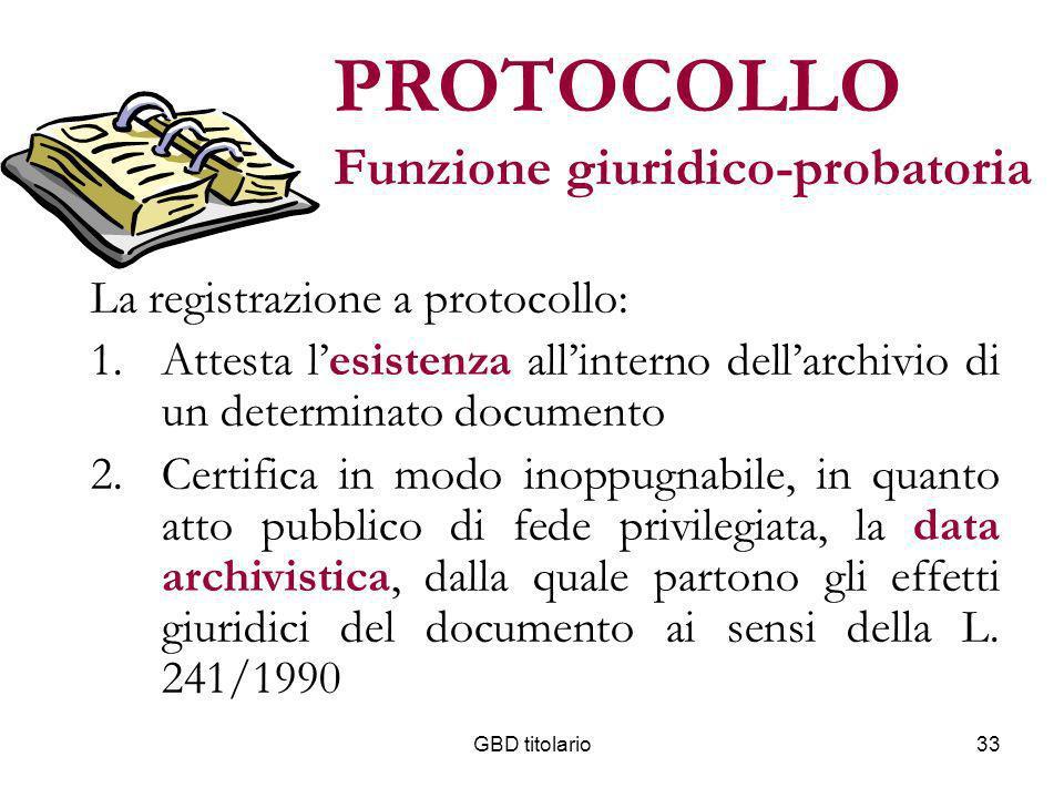 GBD titolario33 PROTOCOLLO Funzione giuridico-probatoria La registrazione a protocollo: 1.Attesta lesistenza allinterno dellarchivio di un determinato