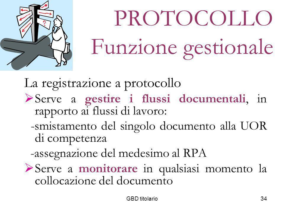 GBD titolario34 PROTOCOLLO Funzione gestionale La registrazione a protocollo Serve a gestire i flussi documentali, in rapporto ai flussi di lavoro: -s