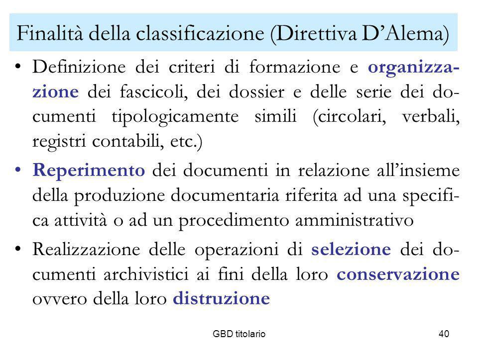 GBD titolario40 Finalità della classificazione (Direttiva DAlema) Definizione dei criteri di formazione e organizza- zione dei fascicoli, dei dossier