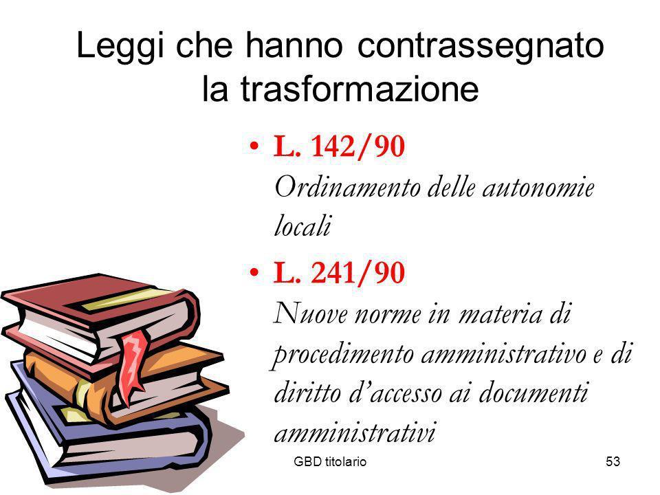 GBD titolario53 Leggi che hanno contrassegnato la trasformazione L. 142/90 Ordinamento delle autonomie locali L. 241/90 Nuove norme in materia di proc