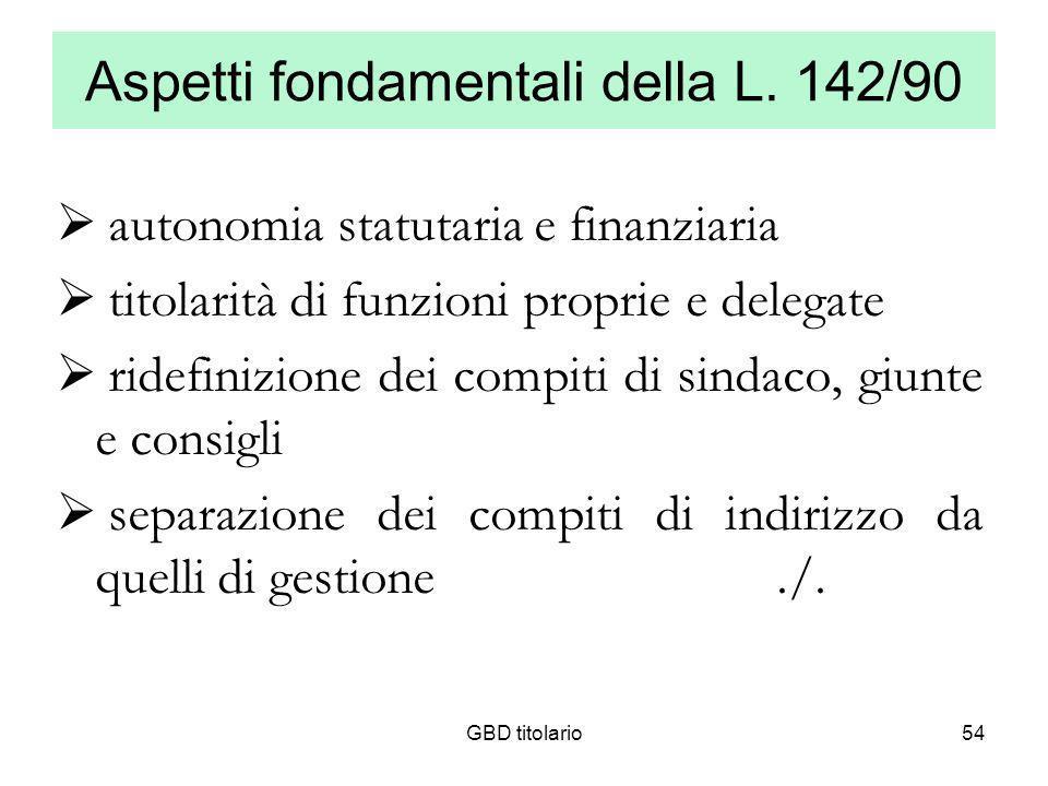 GBD titolario54 Aspetti fondamentali della L. 142/90 autonomia statutaria e finanziaria titolarità di funzioni proprie e delegate ridefinizione dei co