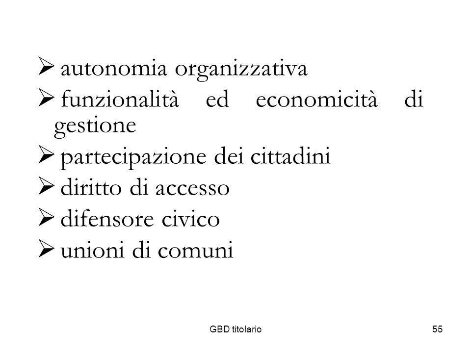GBD titolario55 autonomia organizzativa funzionalità ed economicità di gestione partecipazione dei cittadini diritto di accesso difensore civico union