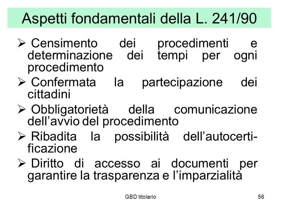 GBD titolario56 Aspetti fondamentali della L. 241/90 Censimento dei procedimenti e determinazione dei tempi per ogni procedimento Confermata la partec