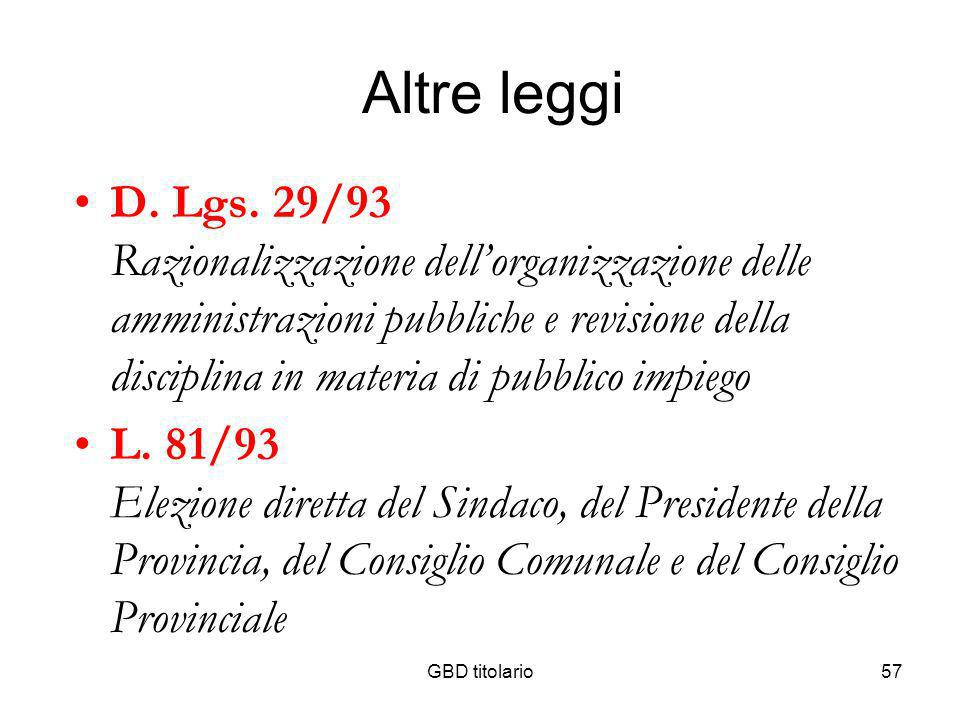 GBD titolario57 Altre leggi D. Lgs. 29/93 Razionalizzazione dellorganizzazione delle amministrazioni pubbliche e revisione della disciplina in materia