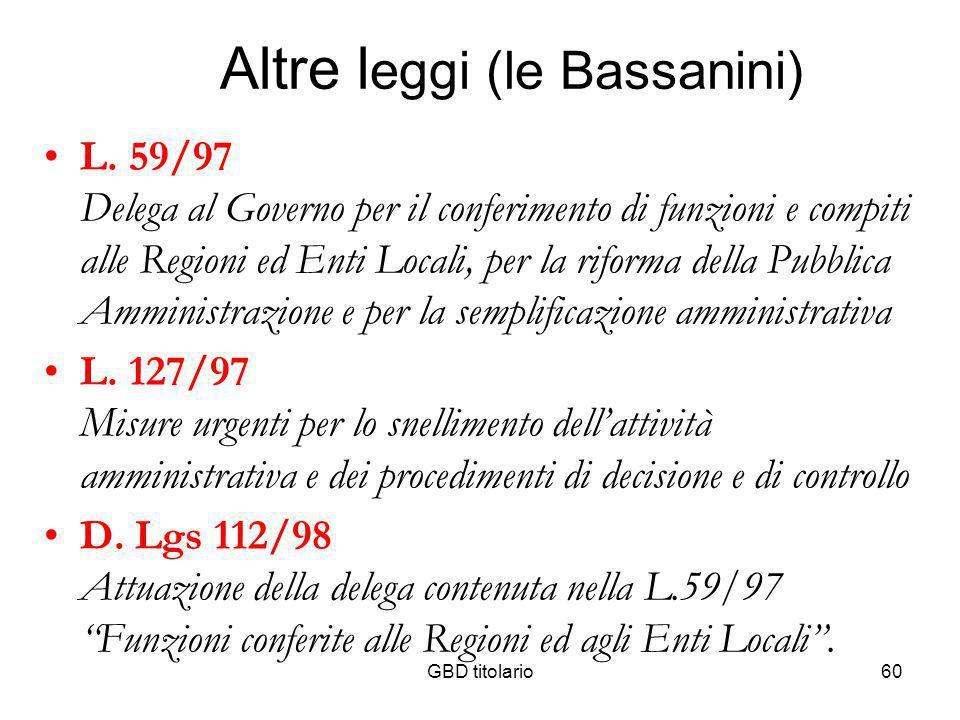 GBD titolario60 Altre l eggi (le Bassanini) L. 59/97 Delega al Governo per il conferimento di funzioni e compiti alle Regioni ed Enti Locali, per la r