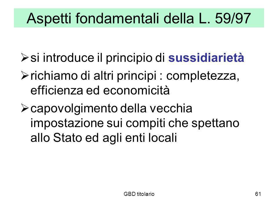 GBD titolario61 Aspetti fondamentali della L. 59/97 si introduce il principio di sussidiarietà richiamo di altri principi : completezza, efficienza ed