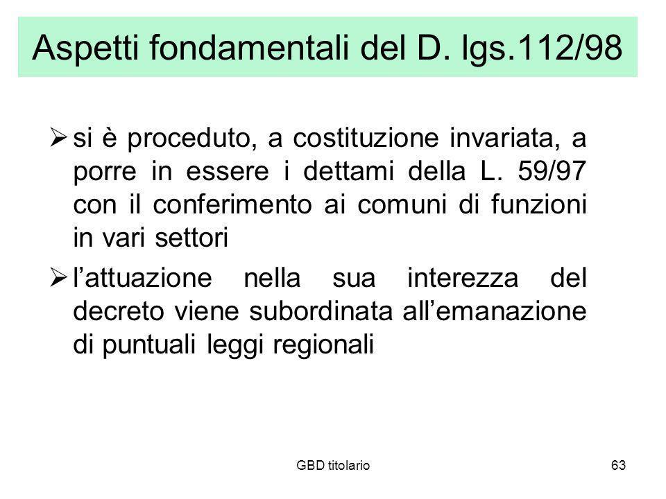 GBD titolario63 Aspetti fondamentali del D. lgs.112/98 si è proceduto, a costituzione invariata, a porre in essere i dettami della L. 59/97 con il con