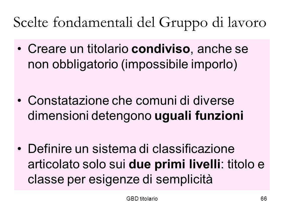 GBD titolario66 Scelte fondamentali del Gruppo di lavoro Creare un titolario condiviso, anche se non obbligatorio (impossibile imporlo) Constatazione
