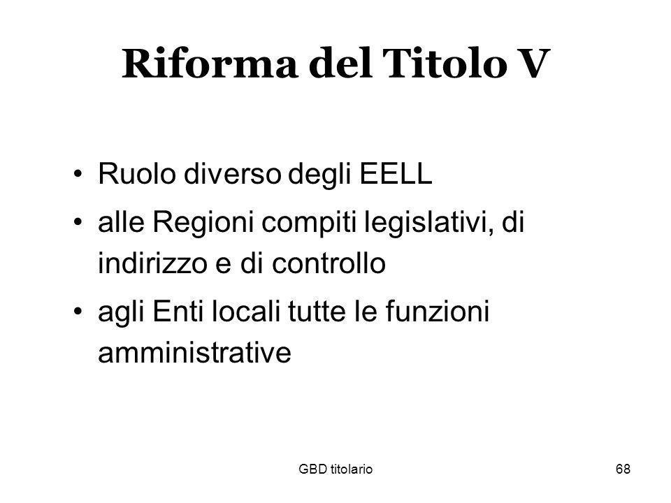 GBD titolario68 Riforma del Titolo V Ruolo diverso degli EELL alle Regioni compiti legislativi, di indirizzo e di controllo agli Enti locali tutte le