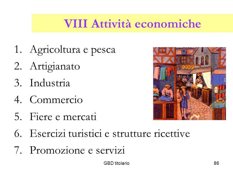GBD titolario86 VIII Attività economiche 1.Agricoltura e pesca 2.Artigianato 3.Industria 4.Commercio 5.Fiere e mercati 6.Esercizi turistici e struttur