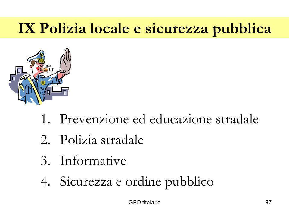 GBD titolario87 IX Polizia locale e sicurezza pubblica 1.Prevenzione ed educazione stradale 2.Polizia stradale 3.Informative 4.Sicurezza e ordine pubb