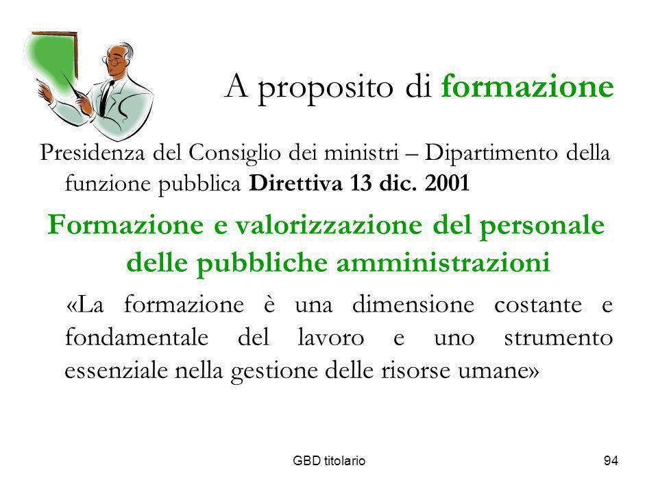 GBD titolario94 A proposito di formazione Presidenza del Consiglio dei ministri – Dipartimento della funzione pubblica Direttiva 13 dic. 2001 Formazio