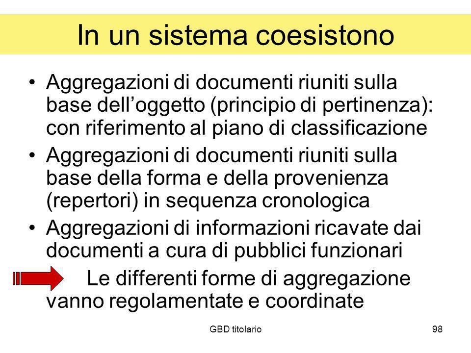 GBD titolario98 In un sistema coesistono Aggregazioni di documenti riuniti sulla base delloggetto (principio di pertinenza): con riferimento al piano