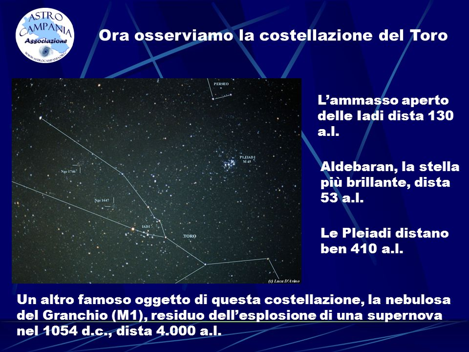 Ora osserviamo la costellazione del Toro Lammasso aperto delle Iadi dista 130 a.l. Aldebaran, la stella più brillante, dista 53 a.l. Le Pleiadi distan